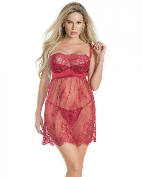 Lightly Padded Demi Cup Lace Babydoll & Crotchless Panty Red Lg