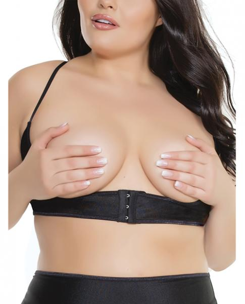 Cupless Underbust Bra Adjustable T-Back Black OS/XL