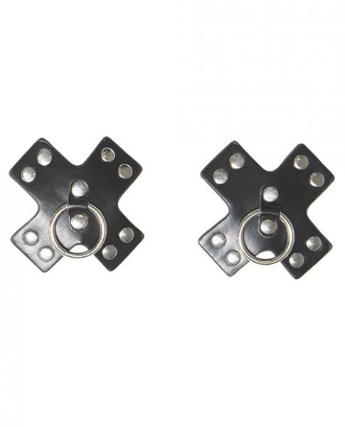 Studded Cross Reusable Pasties Black O/S