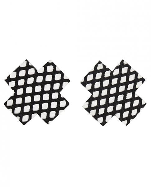 Fishnet Cross Pasties Single Use Black O/S