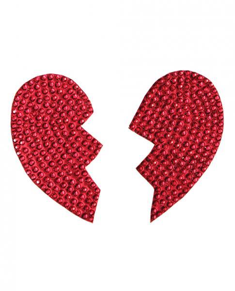 Rhinestone Broken Heart Reusable Pastie Red O/S