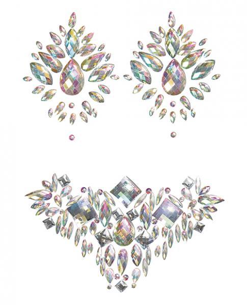 Iridescent Body Gem and Jewel Pasties Set Multi O/S