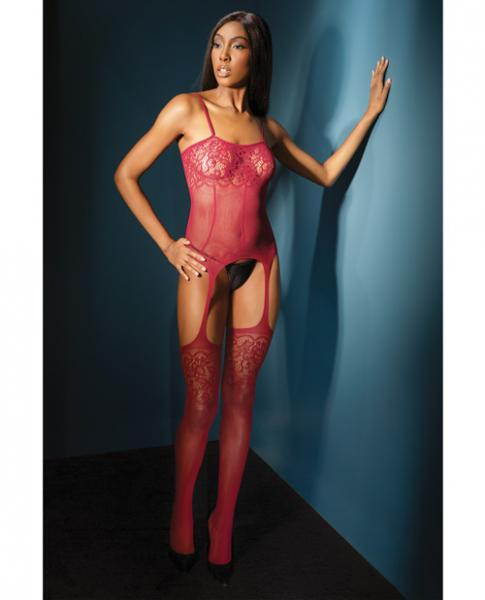 Sleek Seamless Stretch Net Cami Top W/lace Print Detail & Attch. Stockings Merlot O/s
