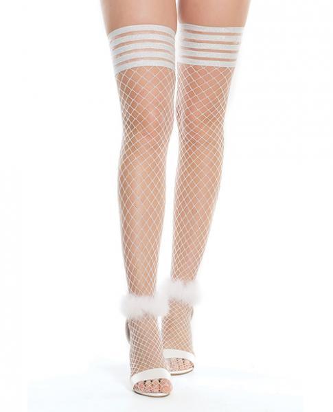 Seamless Nylon Stay Up Stocking White, Silver O/S