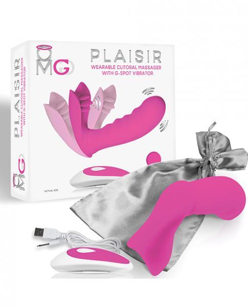 Omg Plaisir Wearable Clitoral Massager W/g-spot Vibrator - Pink
