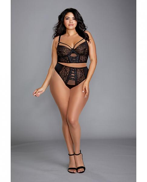 Stretch Mesh & Galloon Lace Bustier W/matching Lace Up Thong Black 2x