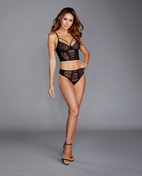 Stretch Mesh & Galloon Lace Bustier W/matching Lace Up Thong Black Md