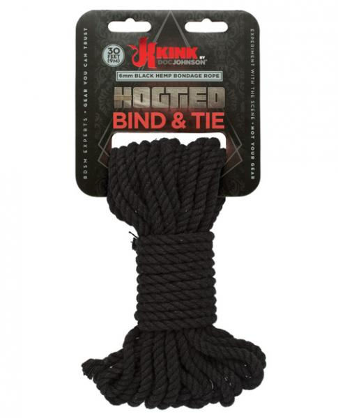 Kink Hogtied Bind & Tie Hemp Bondage Rope 30ft Black