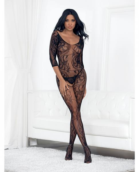 Lace 3/4 Sleeve Open Crotch Bodystocking Black O/S