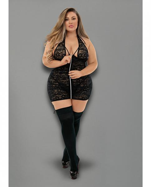 Euphoria Halter Zipper Chemise W/garters, G-string & Hose Black Qn