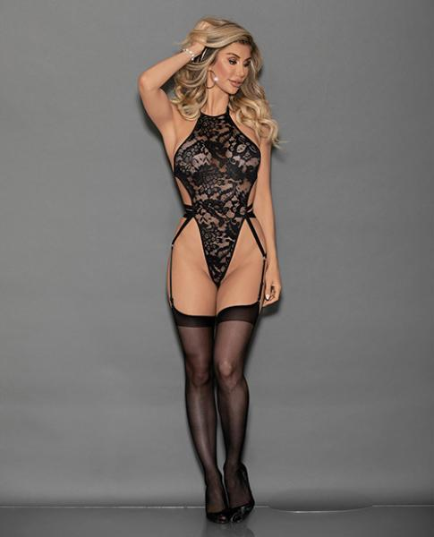 Halter Lace Teddiette Strappy Back & Hose Black O/S