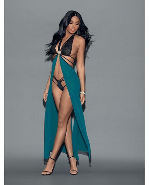 Euphoria Jeweled Teddy Gown Aqua Black O/S