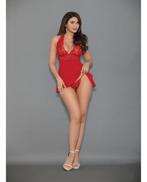 Euphoria Shorty Babydoll & Open Panty Red O/s