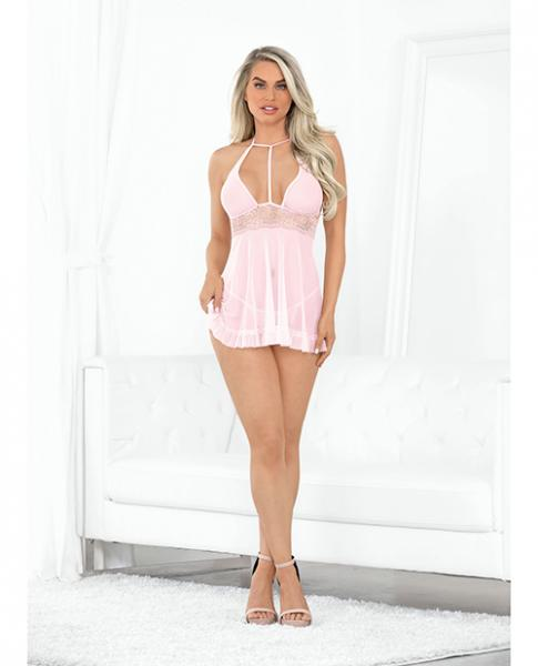 Valentines Hi Neck Sheer Babydoll W/open Crotch Panty Pink Lg
