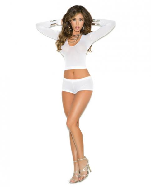 Long Sleeve Cami Top & Booty Shorts Ruched Back White O/S