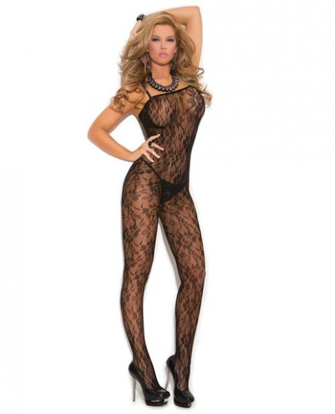 Rose Lace Bodystocking Open Crotch Black O/S