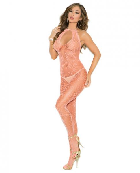 Scroll Pattern Fishnet Bodystocking Keyhole Front Peach O/S
