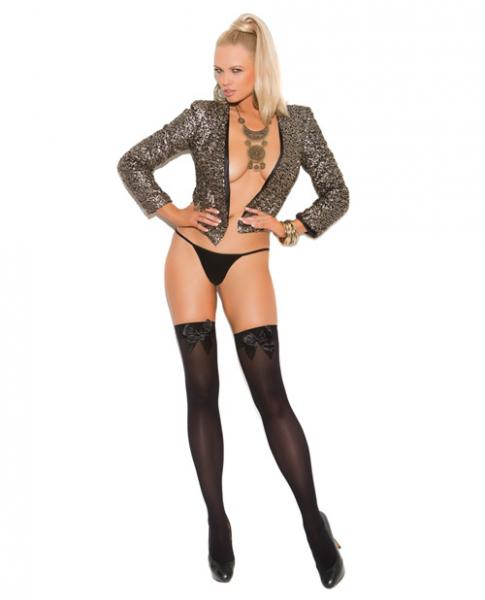 Opaque Thigh Highs with Satin Bow Black OQ