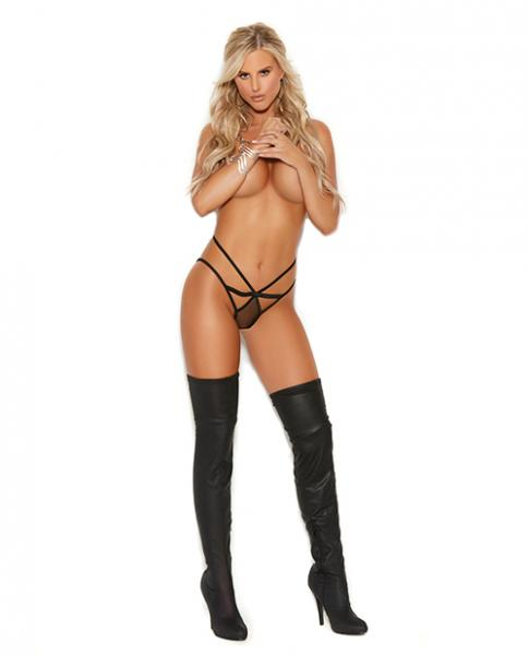 Vivace Fishnet Panty W/cut Out Detailing Black L/x