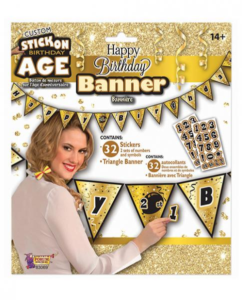 Create Your Own Happy Birthday Banner Gold Black