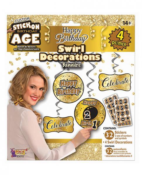 Custom Happy Birthday Decorations Kit Gold Black