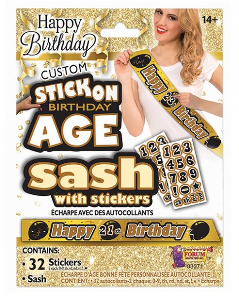 Create Your Own Happy Birthday Sash Gold Black