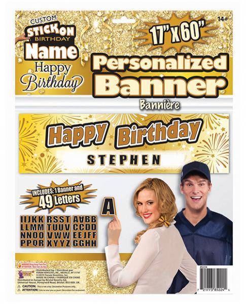 Custom Stick On Happy Birthday Banner Gold Black