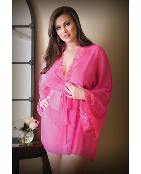 Curve Haley Lace & Mesh Robe & Panty Hot Pink 1x/2x