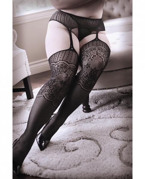 Sheer Fantasy Hands On Me Garter Stockings Black Qn