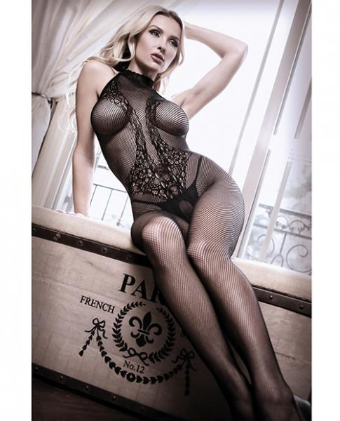 Back To Black Lace Halter Bodystocking Ornate Tattoo Black O/S
