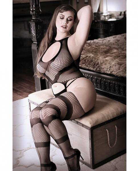 Night Moves Cami Top Attached Stockings Black Qn
