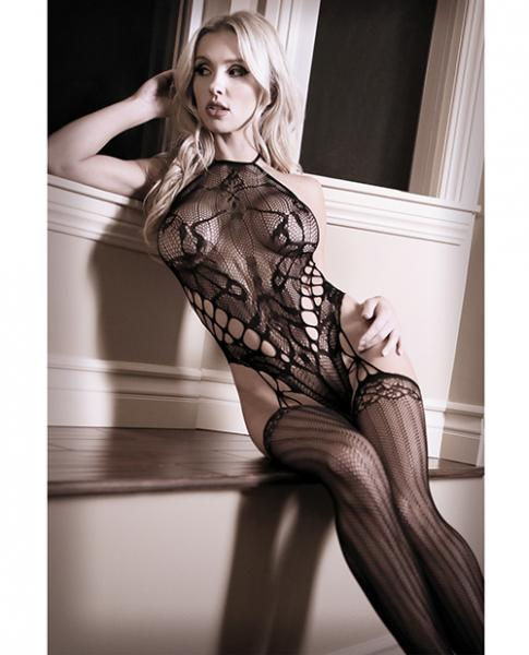 Goodnight Kiss Halter Teddy Attached Stockings Black O/S
