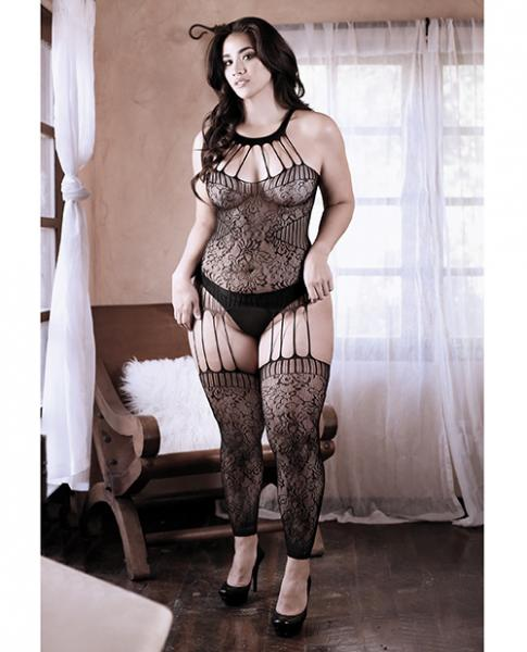 Sheer Fantasy Treasure W/in Strappy Halter Dress W/attached Footless Stockings Black Qn