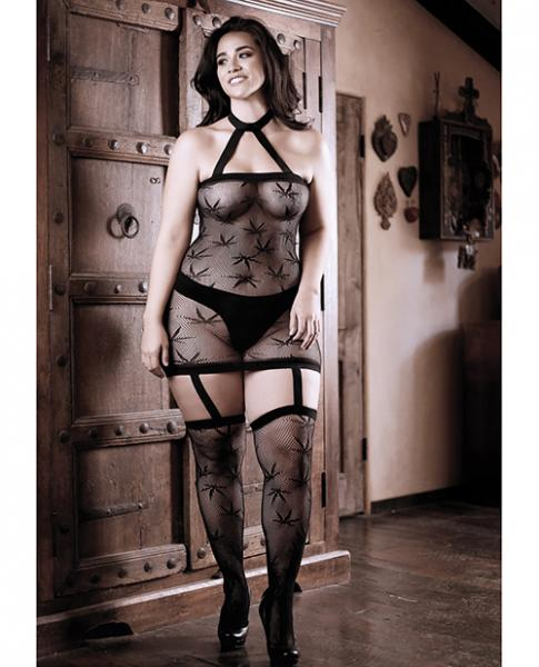 Sheer Fantasy High Society Halter Dress W/attached Gartered Stockings Black Qn