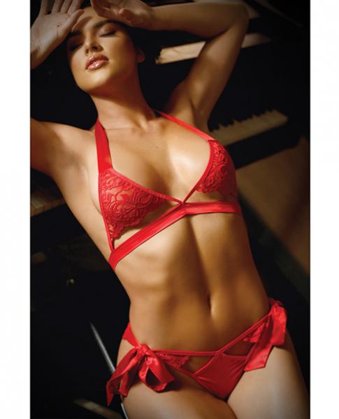 Vixen Cutout Lace Bra & Side Tie Panty Red Queen