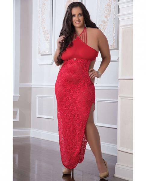 Shoulder Baring Laced Night Dress Red Qn