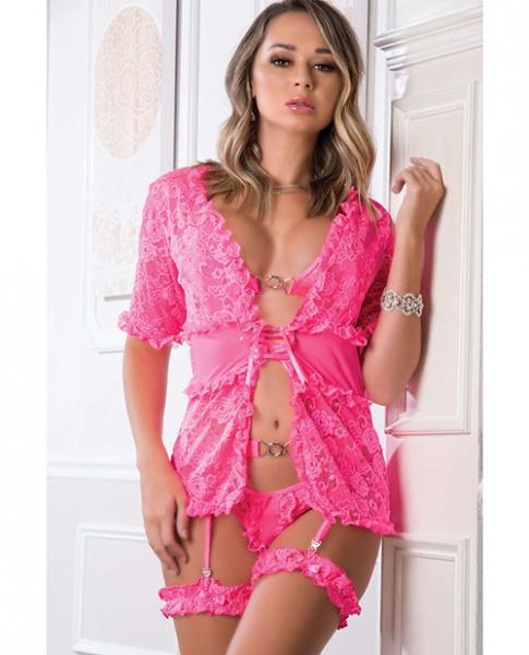 Lace Robe, Open Front Bra, Thong Garter W/leg Garters Neon Pink O/s