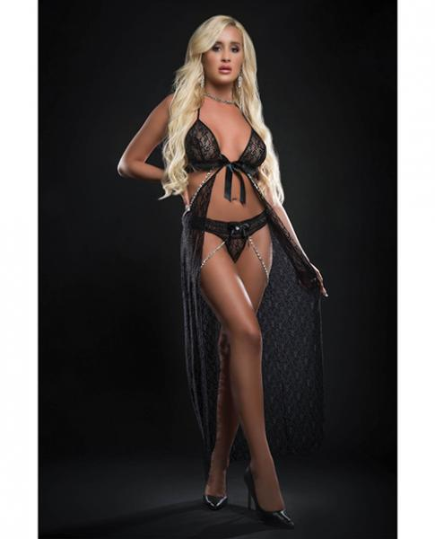Cut Out Open Front Flyaway Night Gown W/pearl Chains & Panty Black O/s