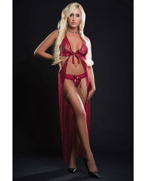 Cut Out Open Front Flyaway Night Gown W/pearl Chains & Panty Red Berry O/s