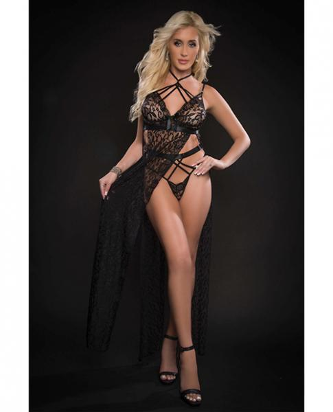 Lace Night Gown W/high Waist Strappy Panty Blackout O/s