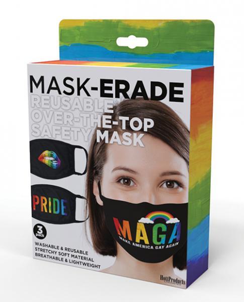 Hott Products Maskerade Masks - Pride/gay Again/ Rainbow Kiss Pack Of 3