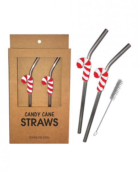 Holiday Candy Cane Reusable Stainless Steel (dishwasher Safe) Straws - Pack Of 2