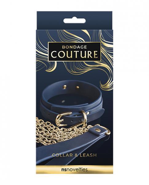 Bondage Couture Vinyl Collar And Leash - Blue