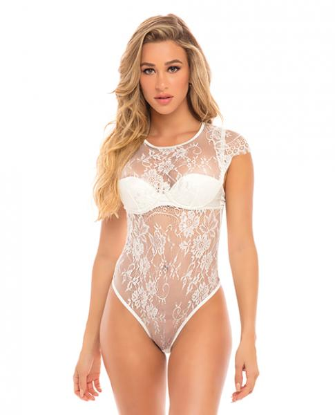 Ysabel Eyelash Lace Teddy Padded Cups White Md