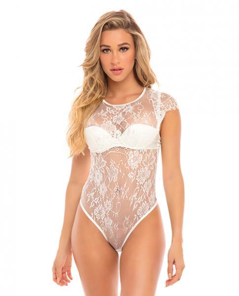 Ysabel Eyelash Lace Teddy Padded Cups White XL