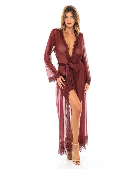 Provence Eyelash Lace Floor Length Robe Zinfandel S/m