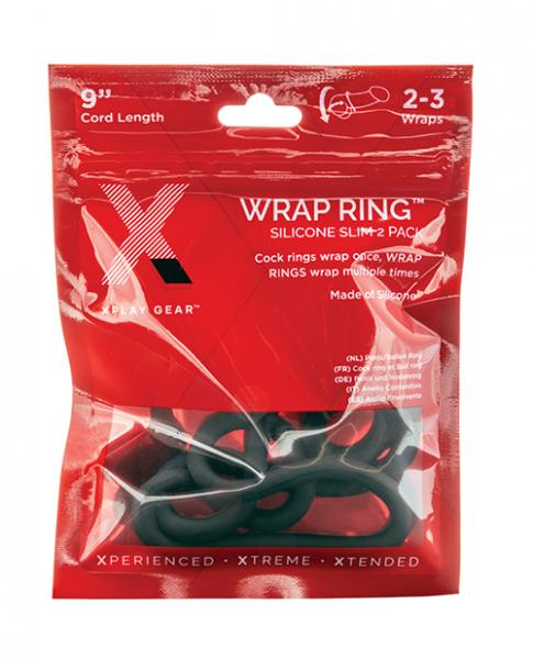 """Xplay Gear Silicone 9"""" Slim Wrap Ring - Black Pack Of 2"""