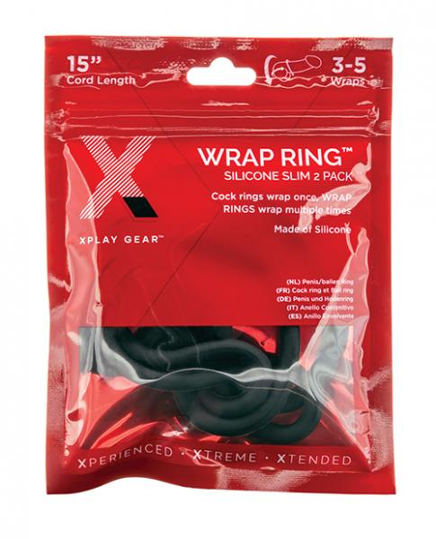"""Xplay Gear Silicone 15"""" Slim Wrap Ring - Black Pack Of 2"""