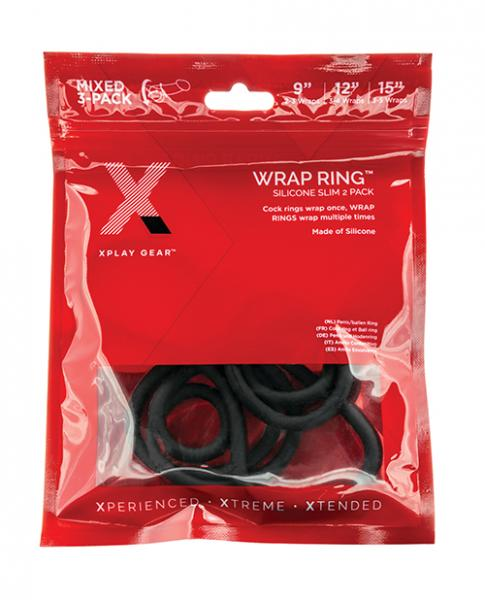 """Xplay Gear 9""""/12""""/15"""" Silicone Slim Wrap Rings - Pack Of 3 Black"""