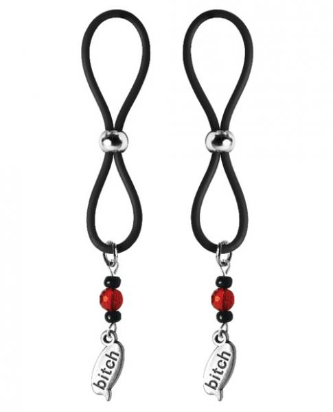 Bijoux De Nip Nipple Halos Bitch Charm Red Black